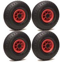 LOT de 4 roues gonflables 260 x 85 alésage 25 mm (3.00-4) à rouleaux ch405 Kg