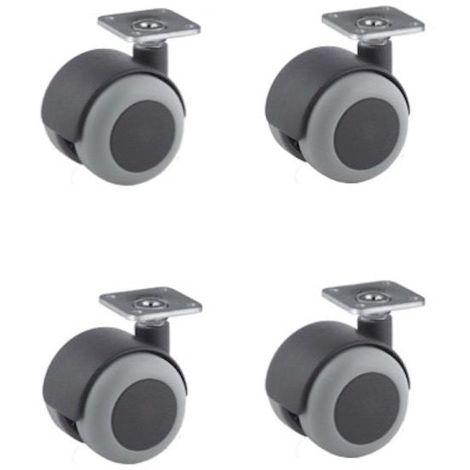 Lot de 4 roulettes pivotantes à platine 38x38 caoutchouc gris 50 mm - 120 Kg