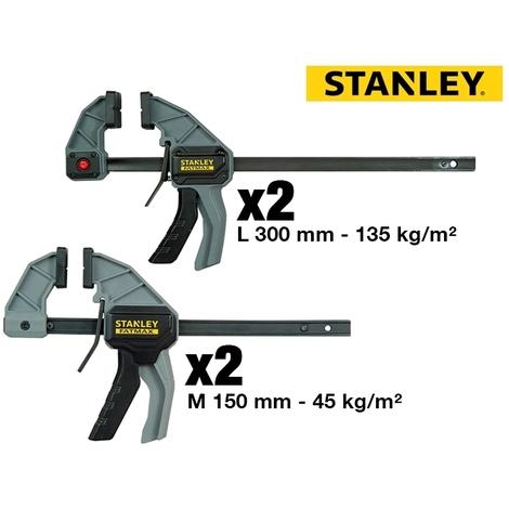 Lot de 4 serre-joints fonction écarteur 1 main Stanley