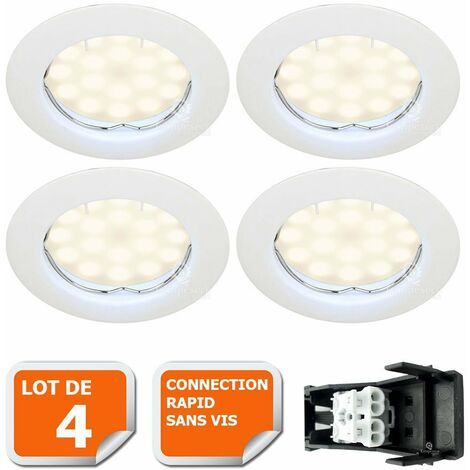 LOT DE 4 SPOT LED COMPLETE RONDE FIXE eq. 50W BLANC CHAUD