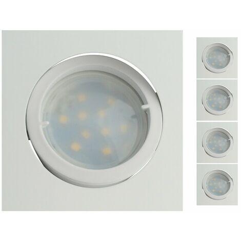 Lot de 4 Spot Led Encastrable Carré Blanc Orientable lumière Blanc Chaud 5W eq. 50W ref.404