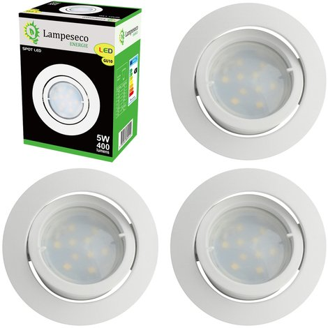 Lot de 4 Spot Led Encastrable Complete Blanc Orientable lumière Blanc Neutre eq. 50W ref.888