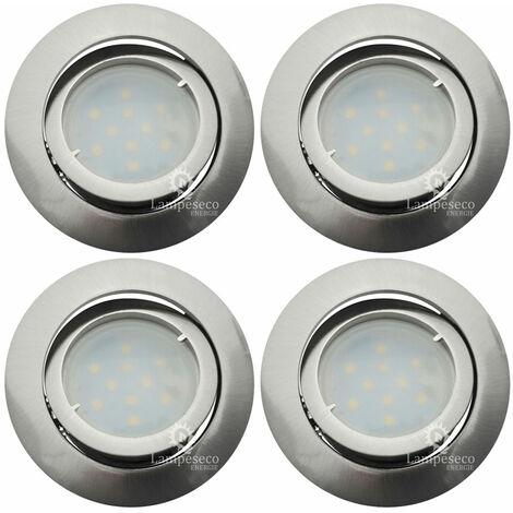 Lot de 4 Spot Led Encastrable Complete Satin Orientable lumière Blanc Chaud eq. 50W ref.209