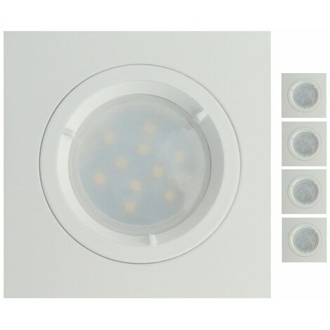 Lot de 4 Spots Led Blanc Carré lumière Blanc Neutre 5W eq. 50W ref.464