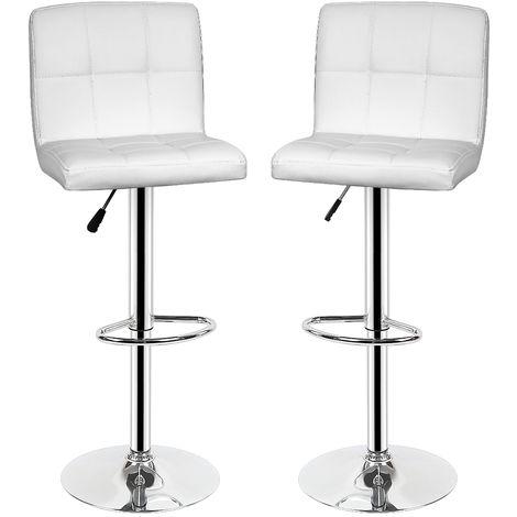 Lot de 4 Tabouret Chaise de bar Cuisine Blanc - Couverture en similicuir Coussin épais- Hauteur réglable entre 55-75cm