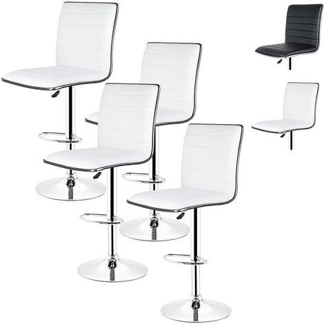 Lot de 4 Tabouret de bar blanc en Simili réglable en hauteur et rotatif - Hauteur siège (95-115cm)