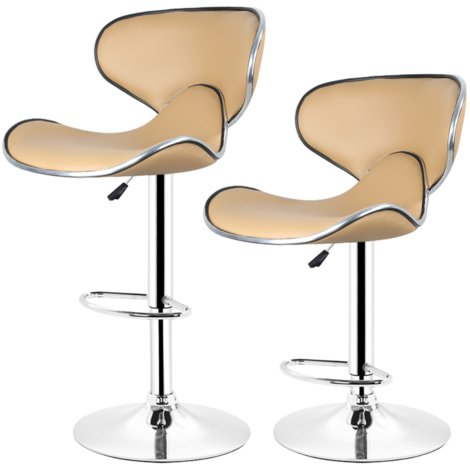 Lot de 4 Tabouret de bar, chaise reglable et pivotant a 360- simili taupe