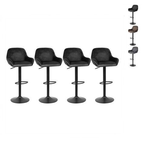 Lot de 4 Tabouret de Bar en Velours Hauteur D'assise Réglable 60-82 cm pour Bar Salle à Manger Salon - Marron - Marron