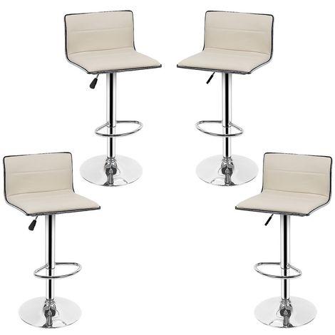 Lot de 4 Tabourets Bar JAUNE CLAIR Chaises pour Salon Bar Hauteur 80 - 100cm en Similicuir