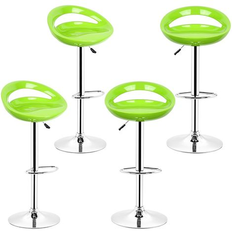 Lot de 4 tabourets chaise de bar vert 55-75cm en ABS