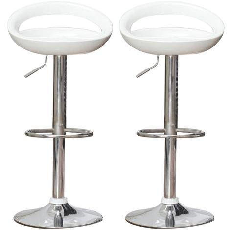 Lot de 4 tabourets de bar ABS Blanc Pivotant et réglable en Hauteur 59 cm - 80 cm , Chaise de Bar