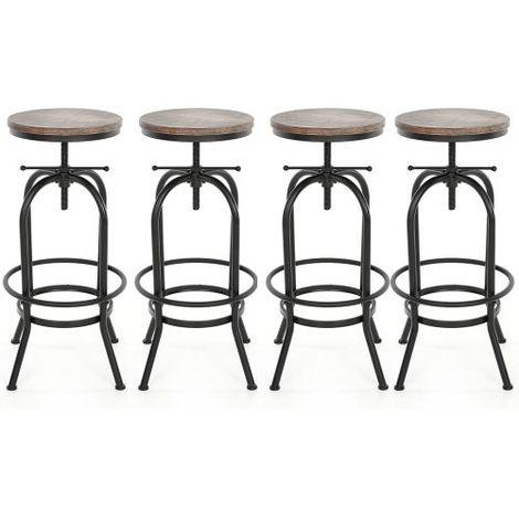 Lot de 4 Tabourets de bar au style industriel assise en bois , chaises de bar en bois iKayaa