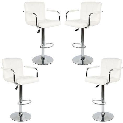 Lot de 4 Tabourets de Bar (Blanc) Chaise de Bar Chaise Lounge avec Dossier et Accoudoir, Hauteur Réglable de 54.5cm - 75.5 cm