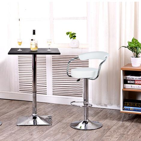 Lot de 4 Tabourets de Bar Blanc Style Contemporain Réglable en Hauteur et Rotatif