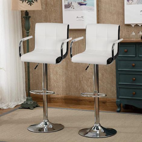 Lot de 4 Tabourets de bar chaise de bar avec accoudoir blanc et noir , R谷glable en hauteur et pivotante