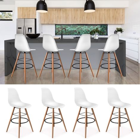 Lot Tabourets De Bar Design Blanc Scandinave 12983 4 5jL4AR