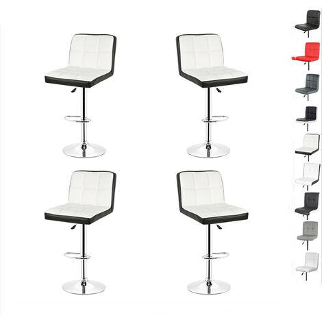 Lot de 4 tabourets de bar en cuir chaise de bar ajustable et rotatif avec dossier blanc et noir
