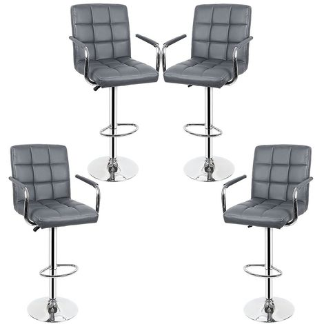 Lot de 4 Tabourets de bar haut chaise de bar PU chrome hauteur réglable grande base Φ38cm gris