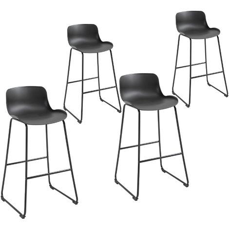 Lot de 4 tabourets de bar industriel avec dossier hauteur assise 73 cm métal polypropylène noir