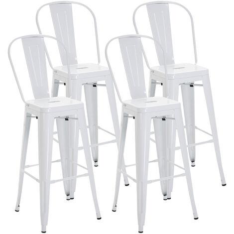 Lot de 4 tabourets de bar industriel avec dossier hauteur assise 76,5 cm métal blanc - Blanc