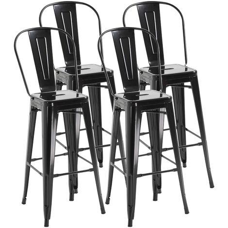 Lot de 4 tabourets de bar industriel avec dossier hauteur assise 76,5 cm métal noir