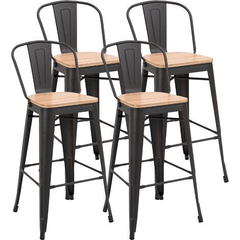 Lot de 4 tabourets de bar industriel avec dossier repose-pied hauteur assise 76 cm métal café foncé panneaux multicouches imitation bois clair