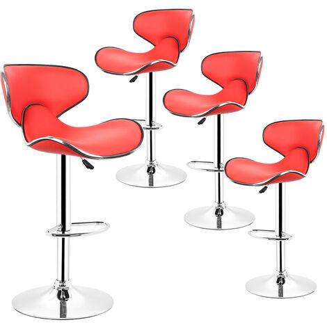 Lot de 4 tabourets de bar LOUNGE chaise haute design réglable avec dossier revêtement synthétique rouge