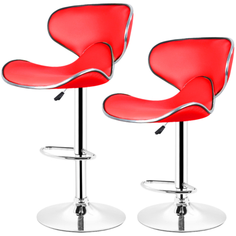 Lot de 4 tabourets de bar LOUNGE chaise haute design r谷glable avec dossier rev那tement synth谷tique rouge