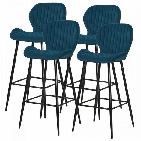 Lot de 4 tabourets de bar - Velours bleu canard - Pieds métal - L 51 x P 41 x H 75 cm