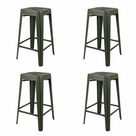 Lot de 4 tabourets de bar vert en métal H 65 cm - MOTUS 2162 - Vert