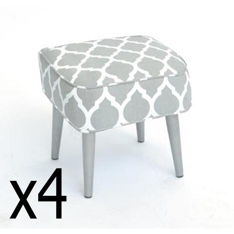 Lot de 4 Tabourets gris clair Lapony en coton et metal, L.35 x l.35 x h.35 cm