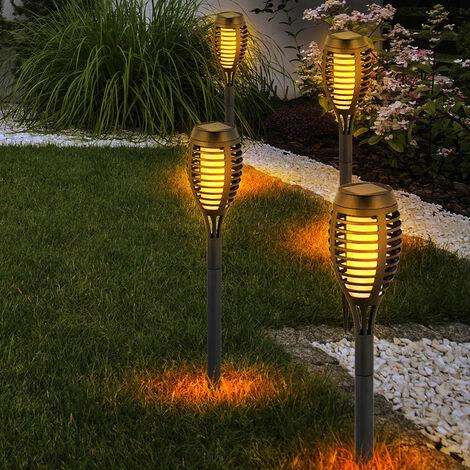 Lot de 4 torches solaires LED effet feu jardin décoration extérieure lumières patio plug lampes noir