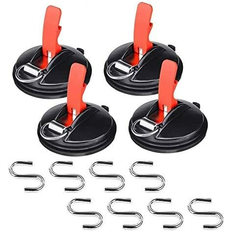 Lot de 4 ventouses de voiture avec 8 crochets de fixation en S, multi-fonction ventouses, outil d'ancrage pour voiture, bâches de bagages, tendeurs de voiture