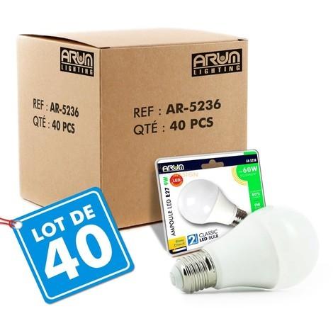 Lot de 40 Ampoules LED E27 9W eq 60W 806lm