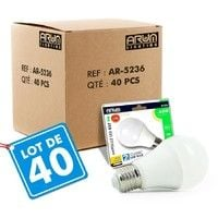 Lot de 40 Ampoules LED E27 9W eq 60W 806lm