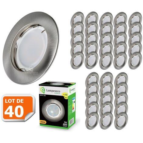 Lot de 40 Spot Led Encastrable Complete Alu Brossé Lumière Blanc Chaud 5W eq.50W ref.763