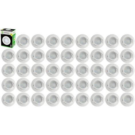 Lot de 40 Spot Led Encastrable Complete Blanc Orientable lumière Blanc Chaud eq. 50W ref.193