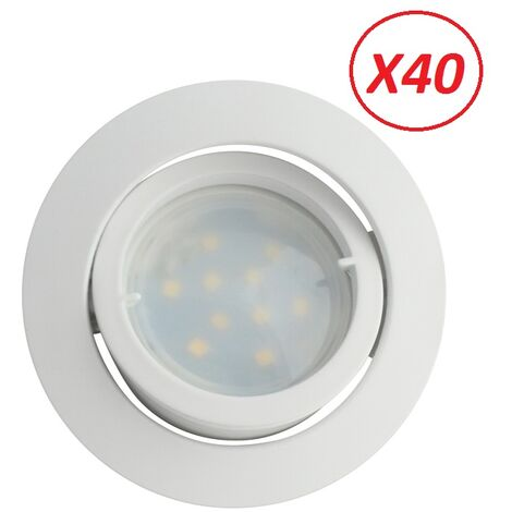 Lot de 40 Spot Led Encastrable Complete Blanc Orientable lumière Blanc Neutre eq. 50W ref.888