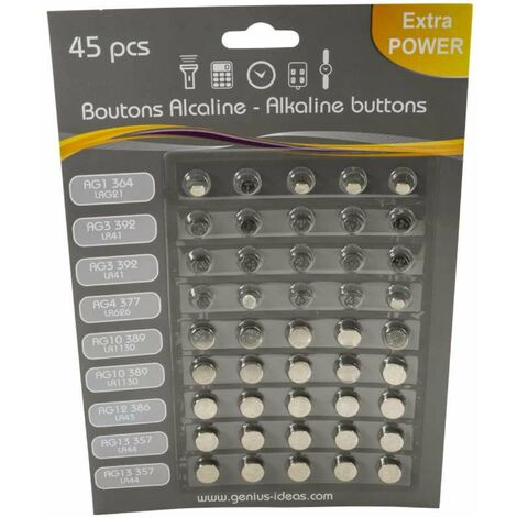 Lot de 45 piles boutons alkalines