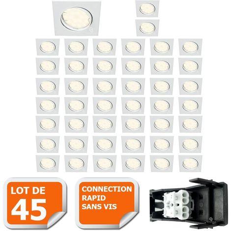 LOT DE 45 SPOT ENCASTRABLE ORIENTABLE CARRE LED SMD GU10 230V BLANC RENDU ENVIRON 50W HALOGENE