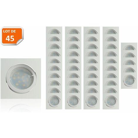 Lot de 45 Spot Led Encastrable Carré Blanc Orientable lumière Blanc Chaud 5W eq. 50W ref.404