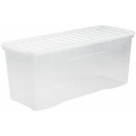 Lot de 4x boîte de rangement transparente   133 l   Avec couvercle   Certeo - Transparent