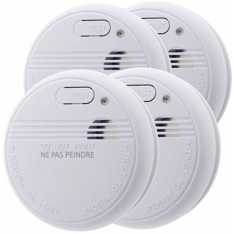 Lot de 4x détecteurs de fumée NF - Garantie 5 ans - Autonomie 3 ans - Livrés avec pile et accessoires de pose - Otio