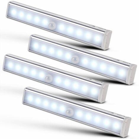 Lot De 4x Lampe Pour Armoire 10led Avec Detecteur De Mouvements