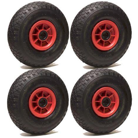 LOT de 4x roue gonflable diable 260 x 85 (3.00-4) alésage 25 mm roulement à rouleaux