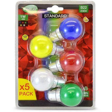 LOT de 5 ampoules 1W LED Culot B22 ROUGE VERT JAUNE BLEU 3000°K