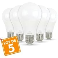 Lot de 5 Ampoules E27 10W eq. 70W 3000K Blanc chaud
