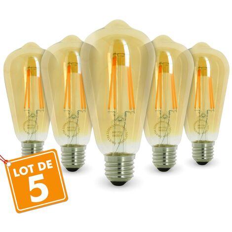 Lot de 5 AMPOULES E27 7W ST64 2200K Type Edison | Température de Couleur: Blanc chaud 2200K