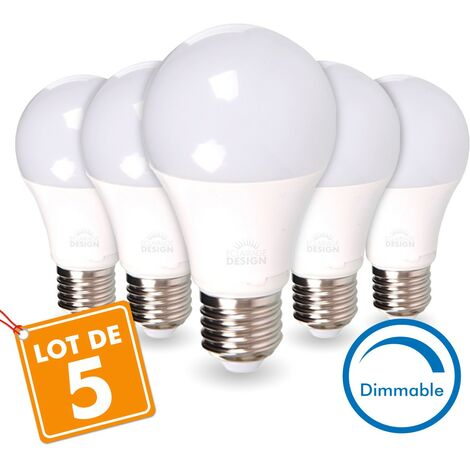 LOT de 5 AMPOULES LED E27 13W DIMMABLE Eq 75W | Température de Couleur: Blanc chaud 2700K