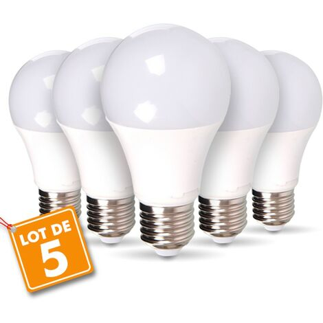 Lot de 5 ampoules LED E27 14W Eq 100W Blanc chaud
